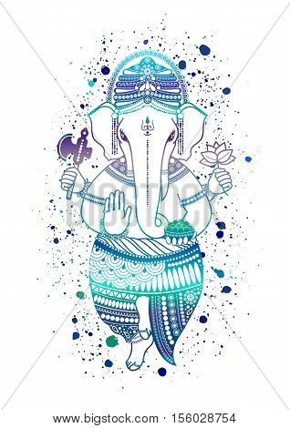 Ganesha or Ganapati Indian deity in the Hindu in blue color isolated on a white background. Paint splash. illustration for design of prints web festive Chaturthi invitations.