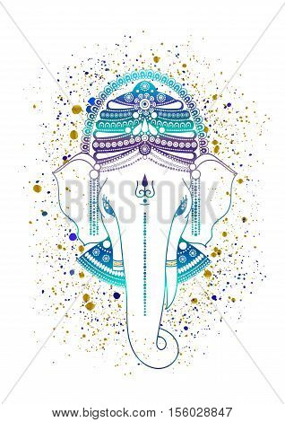 Ganesha or Ganapati Indian deity in the Hindu in blue color isolated on a white background. Paint gold splash. illustration for design of prints web festive Chaturthi invitations.