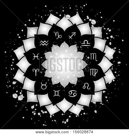 Astrology circle with signs of zodiac. Silver frame and splashes with zodiac astrological symbols. illustration