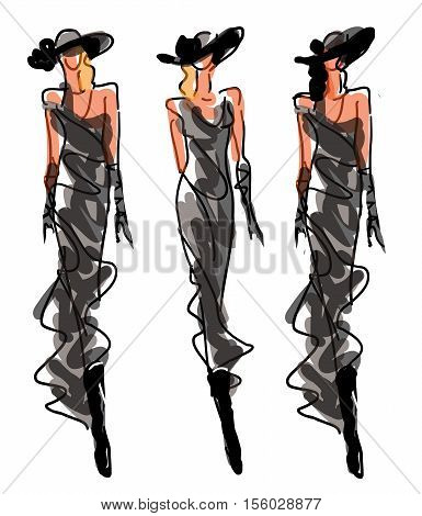 Sketch Fashion Poses - women in evening style