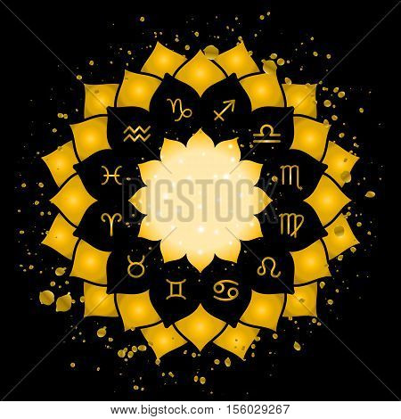 Astrology circle with signs of zodiac. Gold frame and splashes with zodiac astrological symbols. Vector illustration