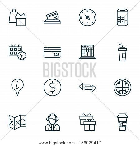 Set Of Traveling Icons On Calculation, World And Locate Topics. Editable Vector Illustration. Includ