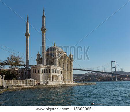 Ortakoy Mosque and Bosphorus Bridge in Istanbul, Turkey