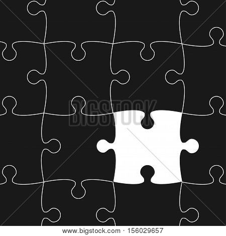 Vector Background Made From White Puzzle Pieces With One Black Missing Piece Flat Infographic Create A Lightbox
