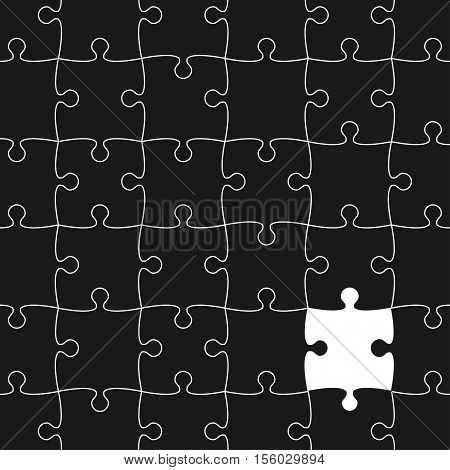 Vector Background made from White Puzzle Pieces with One Black Missing. Piece Flat Puzzle Infographic Presentation. Step Circle Business. One Section Compare Service Banner.
