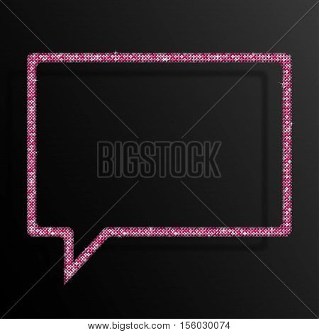 Frame made of Pink sequins in the form speech bubble. Mosaic sequins glitter sparkle stars.