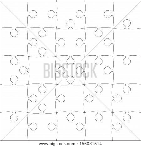 25 White Puzzles Pieces Arranged in a Square - JigSaw - Vector Illustration.