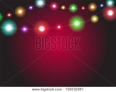 Bright Garland Lights Glowing With Various Colors. Luminous Radiant Christmas Holiday Light Decorati