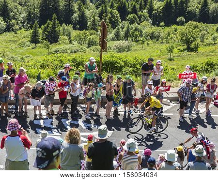 Pas de Peyrol France - July 62016: The Slovak cyclist Peter Sagan of Tinkoff Team in Yellow Jersey riding on the road to Pas de Pyerol (Puy Mary) in Cantalin the Central Massif during the stage 5 of Tour de France on July 6 2016.