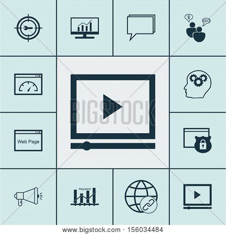 Set Of Seo Icons On Connectivity, Market Research And Video Player Topics. Editable Vector Illustrat