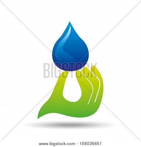 protection water hand hold drop icon vector illustration eps 10