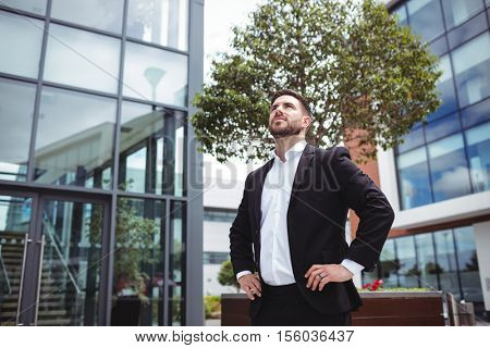Businessman standing with hands on hips in office premises