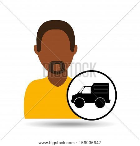 man bearded character delivery vehicle transport vector illustration eps 10