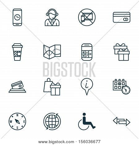 Set Of Travel Icons On Takeaway Coffee, Call Duration And Locate Topics. Editable Vector Illustratio