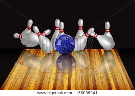 Vector realistic bowling ball and skittles on dark background. Bowling strike.