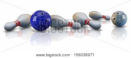 Vector realistic bowling balls and lying bowling pins with mirror reflection.