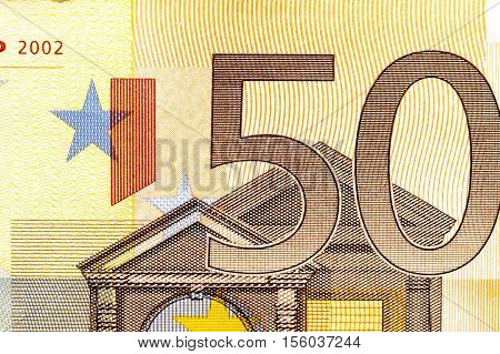photographed closeup European money, the nominal value of fifty euro