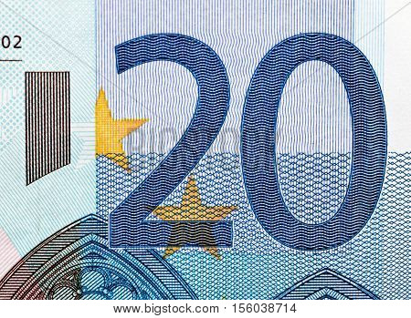 photographed close-up money of the European Union, the par value of twenty euro