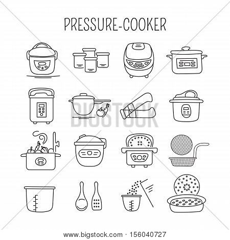 Hand drawn thin line icons set, vector illustration. Pressure cookers and accessories. Modern kitchenware. Isolated symbols. Black on white pictograms. Simple mono linear design.