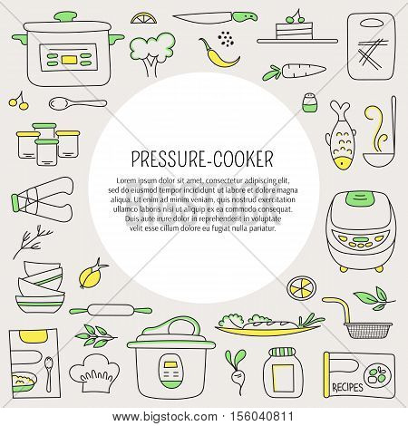 Pressure cookers and products. Vector card template with hand drawn elements. Clean doodle background. For banners and posters, cards, brochures and flyers, souvenirs, invitations, website designs.