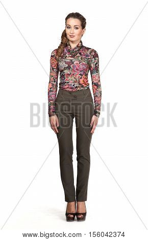 woman in official print blouse stretch trousers high heel shoes. full length body portrait isolated on white