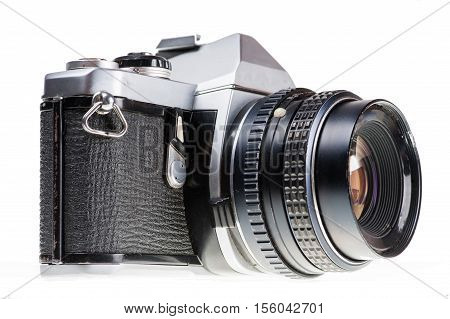 The Side View Of An Old Analog Camera