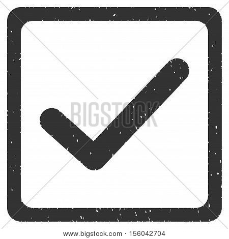 Checkbox rubber seal stamp watermark. Icon vector symbol with grunge design and unclean texture. Scratched gray ink sticker on a white background.
