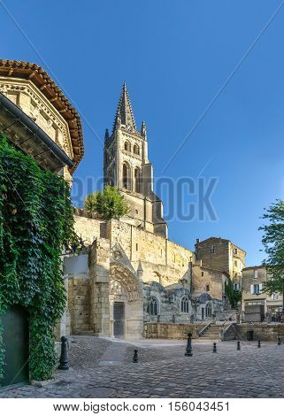 Monolithic church in the streets of Saint Emilion in France