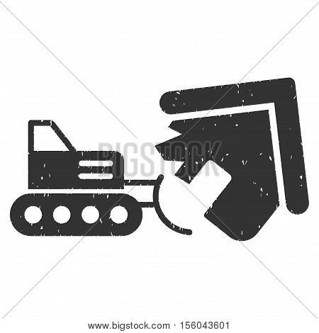 Demolition rubber seal stamp watermark. Icon vector symbol with grunge design and dust texture. Scratched gray ink sign on a white background.