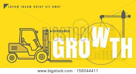 infographic Vector creative illustration of growth text forklift city building crane on yellow background. concept. Thin line art style design of startup service