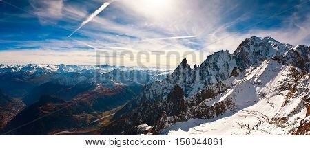 Mont Blanc, Courmayeur Italy helcopter sky clouds