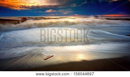 sea storm Sochi horizon beacon ske clouds