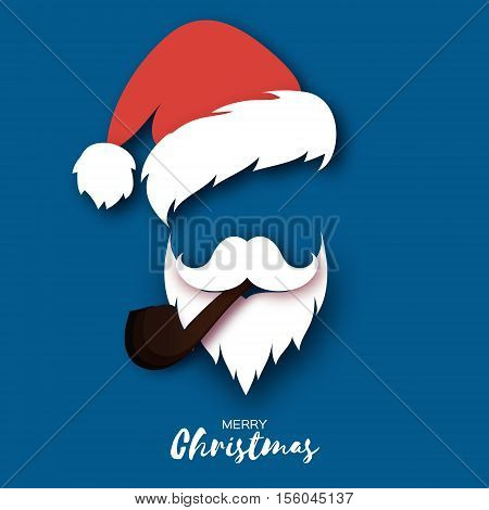 Merry Christmas greeting card with papercraft Santa Claus with pipe on blue background. Hipster style. Vector illustration