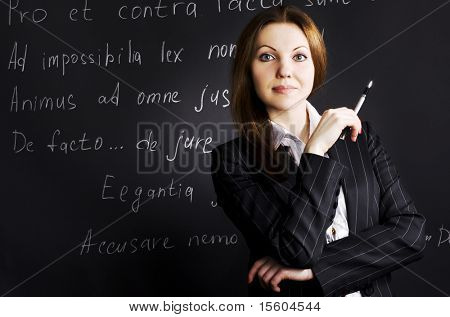 Lawyer. Proverbs in latin language on black background.