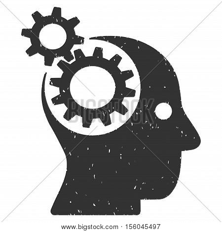 Intellect Gears rubber seal stamp watermark. Icon vector symbol with grunge design and corrosion texture. Scratched gray ink emblem on a white background.