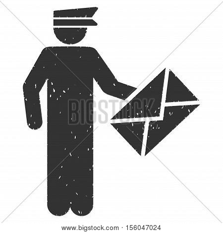 Postman rubber seal stamp watermark. Icon vector symbol with grunge design and dust texture. Scratched gray ink emblem on a white background.
