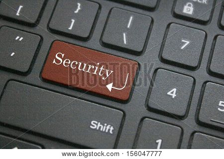 Close up of Security button on black computer keyboard