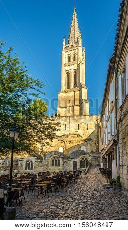 SAINT EMILION,FRANCE - SEPTEMBER 1,2016 - In the streets of Saint Emilion - Bell tower. Saint Emilion is a commune in the Gironde department in southwestern France.