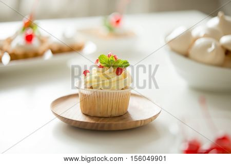 Cupcake served on the plate, crowned with a glorious buttercream, pomegranate and mint leaf