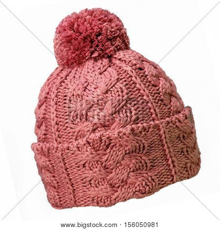 handmade red woolen hat isolated on white