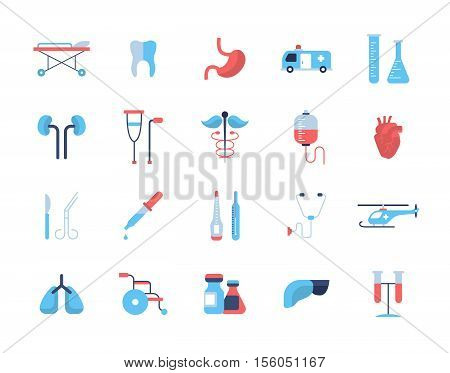 Medical Set - modern vector flat design icons and pictograms. Tooth, stomach, ambulance, kidneys, heart, haemotherapy, thermometer, helicopter lungs wheelchair medicines liver equipment