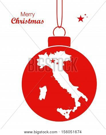 Merry Christmas Map Italy flat illustration high res