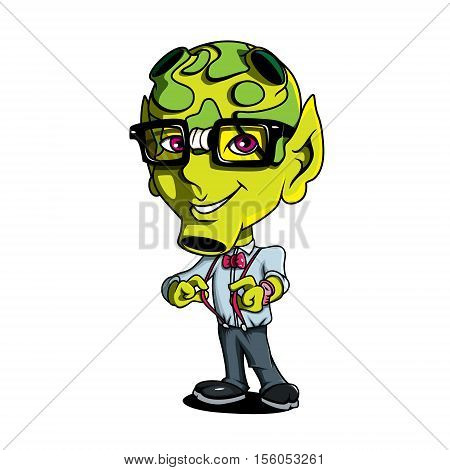 Funny Geek Nerd Cute Cartoon Alien Green Humanoid Creature Character