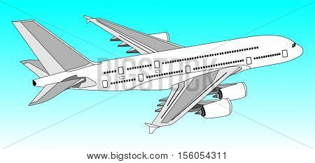 Vector Commercial Jet Aeroplane Flying in clear blue Sky travel and tourism concept passenger plane with out line of all parts cockpit body wings tail airbus A380 on the air useful for business