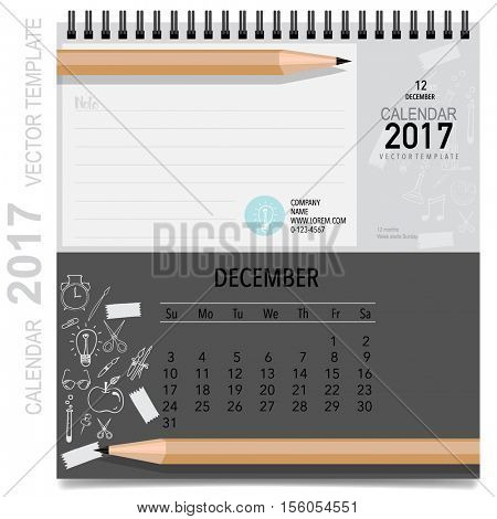 2017 Calendar planner vector design, monthly calendar template for December