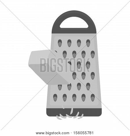 Grating cheese icon in monochrome style isolated on white background. Pizza and pizzeria symbol vector illustration.