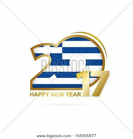 Year 2017 With Greece Flag Pattern. Happy New Year Design On White Background.