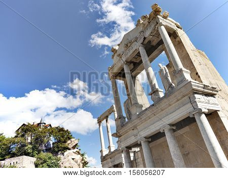 A fragment of the roman amphitheatre in the old town of Plovdiv, Bulgaria, Europe.