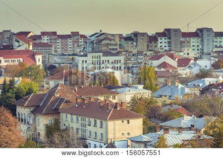 Romanian urban landscape with typical communist building.