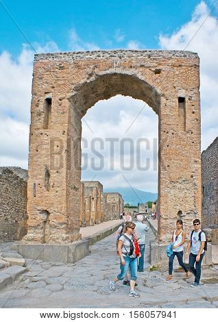 POMPEII ITALY - OCTOBER 4 2012: The Arch of Caligula was the monumental entrance to the Civil Forum on October 4 in Pompeii.